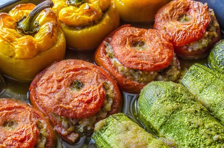 Gemista, stuffed peppers, tomatoes and courgette with rice, vegetables and herbs