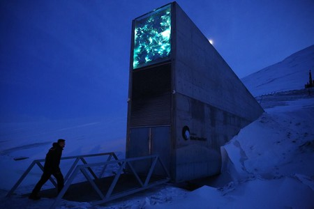 The Svalbard Global Seed Bank on a Polar Night
