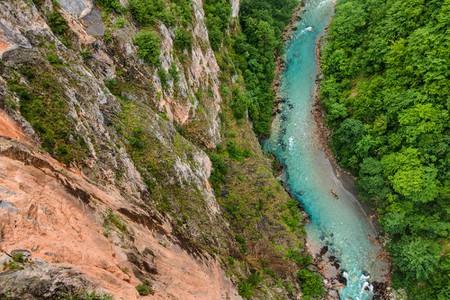 Blue Tara river and deep canyon, Montenegro, Durmitor National Park.