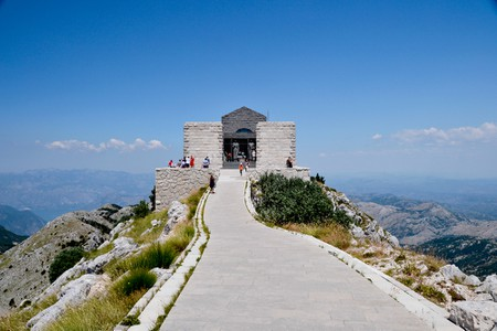 The mausoleum of Petar Njegoš, located within Lovcen National Park in Montenegro