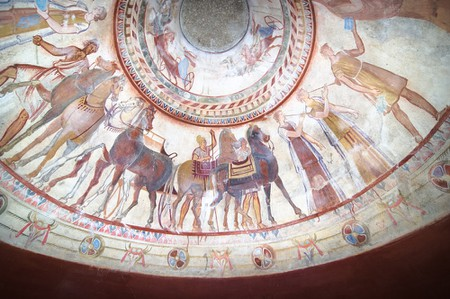 Detail of fresco in the tomb of a Thracian king, Kazanlak, Bulgaria