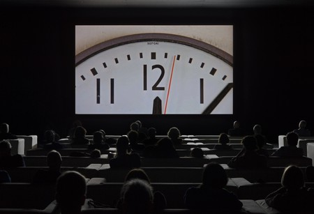Installation view of 'The Clock' at Tate Modern, 2018