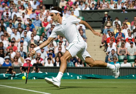 Roger Federer in action during the 2011 Wimbledon Tennis Championships