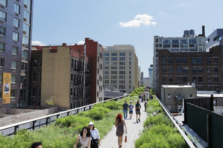 The High Line is a park built on a section of the former New York Central Railroad