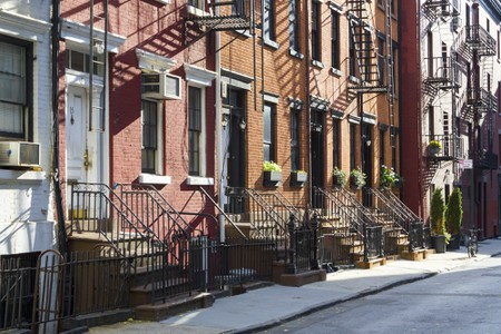 Historic apartment buildings line Gay Street in Greenwich Village