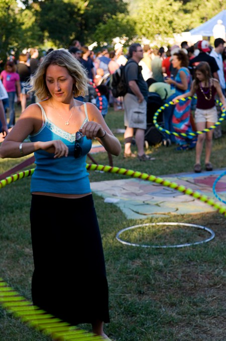 A hula hoop enthusiast at Eeyore's Birthday Party in Austin, TX.