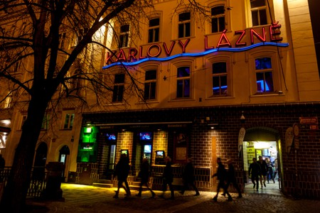 Karlovy Lázně nightclub in old town Stare Mesto Prague has five dance floors