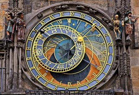 The Astronomical Clock sits in Old Town Square, Prague