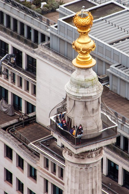 The Monument Memorial column to the Great Fire of London designed by Christopher Wren seen from above