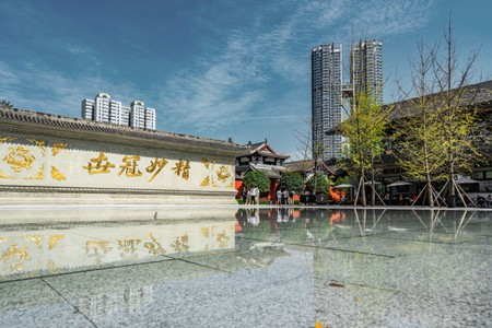 CHENGDU, CHINA - SEPTEMBER 28: Traditional Chinese architecture at Taikoo Li near Daci Temple in the downtown area on September 28, 2018 in Chengdu
