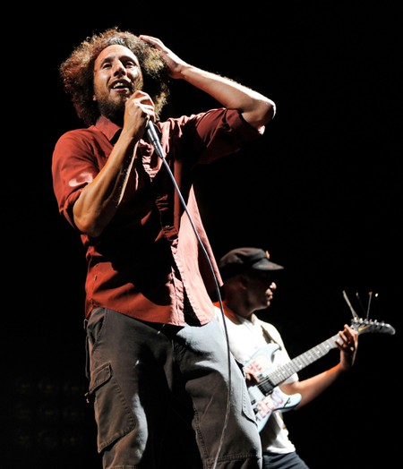 "Zack de la Rocha and Tom Morelloleft of band Rage Against the Machine performing at ""L.A. Rising"" concert, Los Angeles"