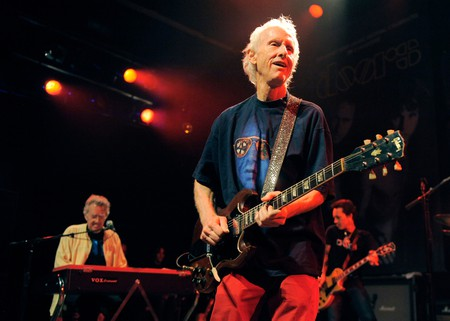 Robby Krieger and Ray Manzarek from The Doors perform at the Sunset Strip Music Festival launch party celebrating, West Hollywood, California