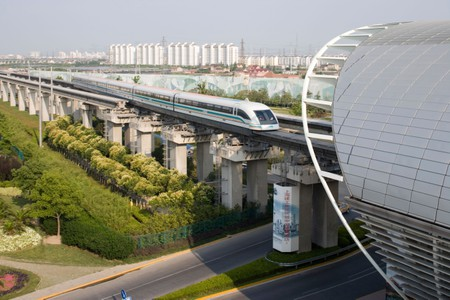 The Maglev train takes people into the city centre of Shanghai, China