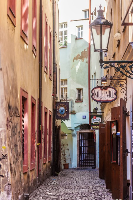Cobbled alleyway in the Old Town district of Prague, Czech Republic