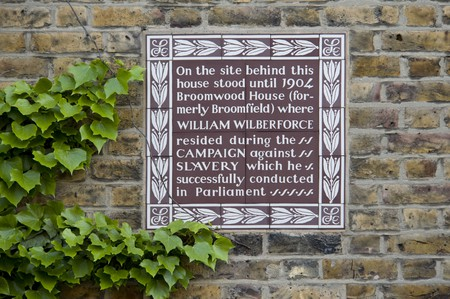 Brown Plaque to William Wilberforce, 111 Broomwood Road, Battersea, Wandsworth, London.
