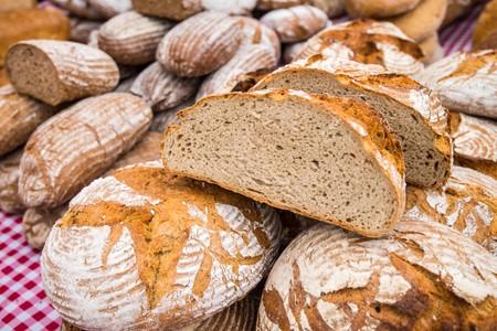 Czech bread in the Farmers market Naplavka, Prague