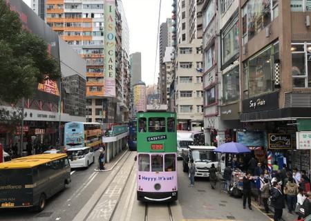 Traveling by tram in Hong Kong.