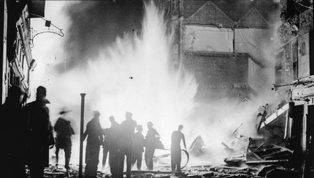 A Gas Main is hit during a raid on old Compton street in Soho London.