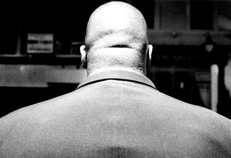 Back view bouncer on the door at the Moonlight Club soho London 1990's.