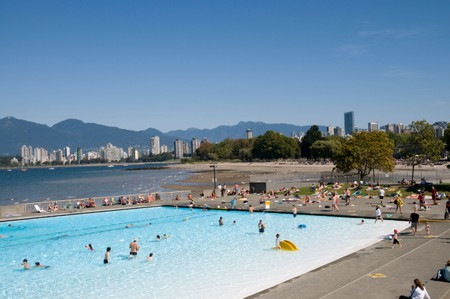 Kitsilano Beach park and swimming pool in downtown Vancouver
