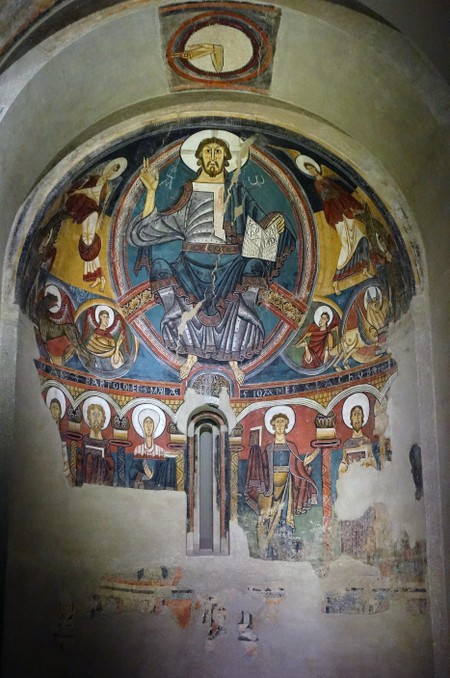 Romanesque fresco titled 'Pantocrator' by the Master of Taull from the Church of Sant Climent. Dated 12th Century.
