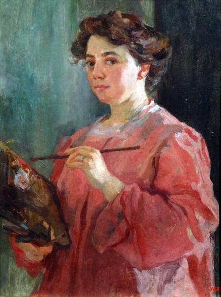 Self portrait by Lluisa Vidal (1876-1918) Catalan modernism painter. Dated 1899.