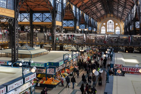 Interior of the Central Market Hall in District IX, Budapest