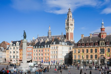 Chambre of Commerce and Statue and Column of Deesse (1845) at the Place General de Gaulle in Lille, France.