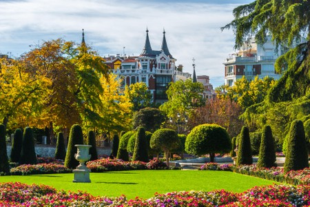 Gardens in the city of Madrid's Retiro park.