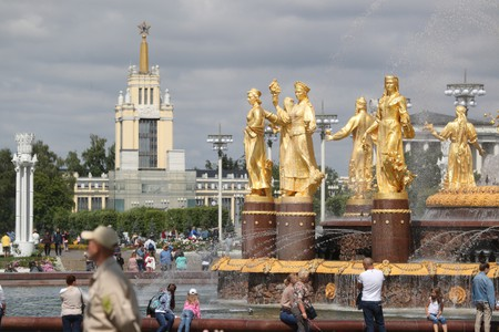 Gilded statues of the Friendship of the Peoples Fountain at the VDNKh exhibition centre and park.