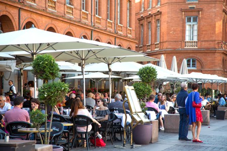 Cafes and restaurants in Place du Capitol in Toulouse France