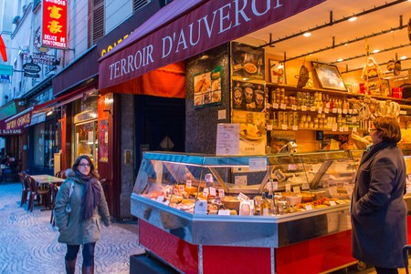 Grocery shops selling local produce in the Auvergne