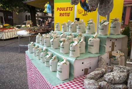 Bags of Le Puy lentils for sale at a market in Le Puy-en-Velay in the Auvergne region of France