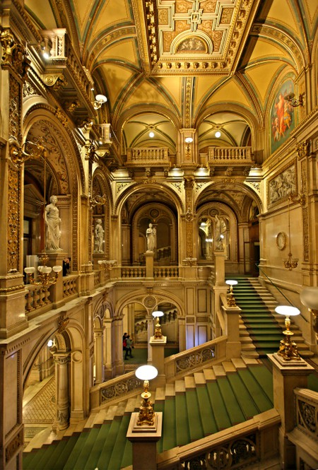 The main staircase in the State Opera House (Staatsoper) of Vienna, Austria.