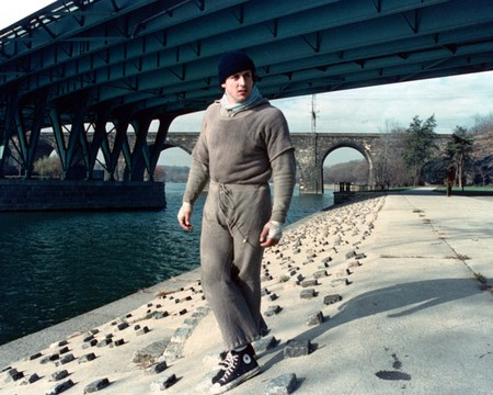 Sylvester Stallone as Rocky Balboa, during the filming of 'Rocky', 1976, Fairmount Park, Philadelphia