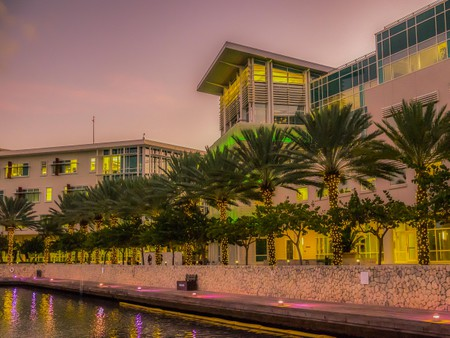 Grand Cayman, Cayman Island, view of The Crescent in Camana Bay a modern Caribbean waterfront town at dusk