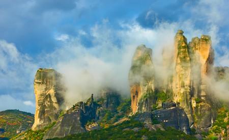 Clouds on rocks in Meteora, Greece - Landscape