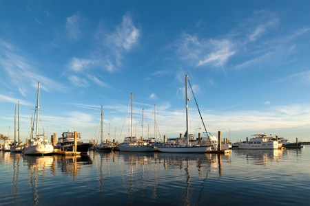 Sailboats in the marina in Beaufort, South Carolina