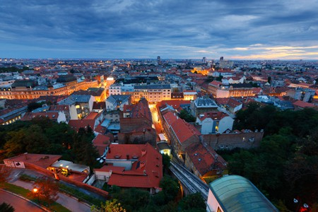 Zagreb skyline - panorama of down town at night