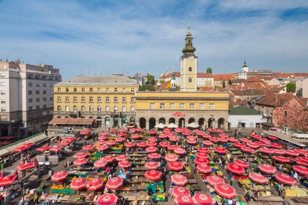 ZAGREB, CROATIA - APRIL 8, 2014: Aerial view of Dolac market covered with parasols and fresh fruit and vegetables  in Zagreb, Cr
