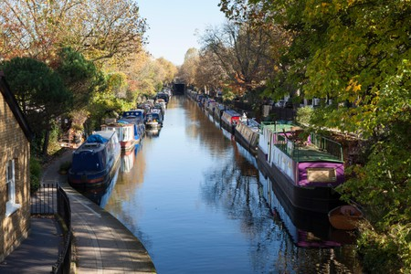 Canal Boats moored at Little Venice, London, England, UK