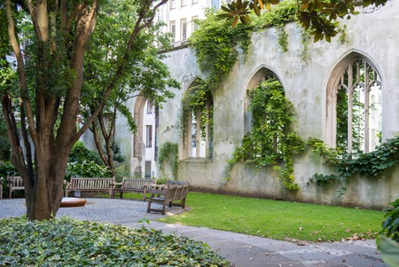 Hidden garden in the ruins of St Dunstan in the East medieval church in the City of London, England, UK