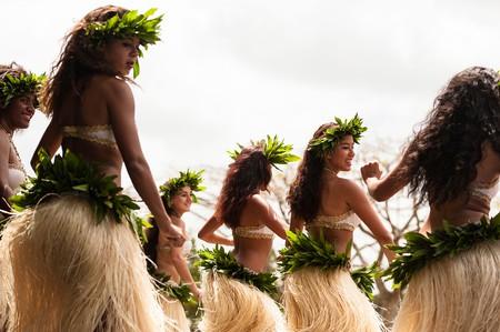 Vanuatan women of mixed race (Melanesian and Polynesian)  dancing a Polynesian dance during  Fest' Sawagoro cultural festival, Port Vila, Vanuatu.