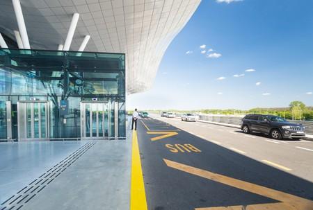 ZAGREB AIRPORT - 24 APRIL 2017: Exterior of arrivals terminal.