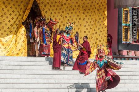 The Tibetan Buddhist community celebrate Losar, (Tibetan New Year) at Shechen Monastery near Boudhanath.