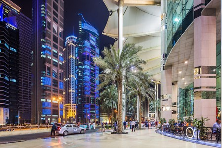 Al Dafna district (West Bay Business quarter), City Centre Doha Shopping Mall, the entrance and some skyscrapers on Conference Centre street