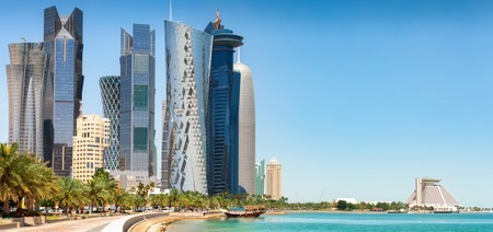 The skyline of Doha on a sunny spring day