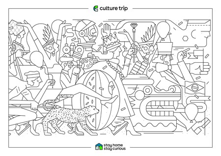 Coloring Page, Book. Brazil Vector Pattern With National Symbols ...   318x450