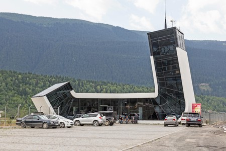 Terminal building at Mestia Airport in the Svaneti area of Georgia.