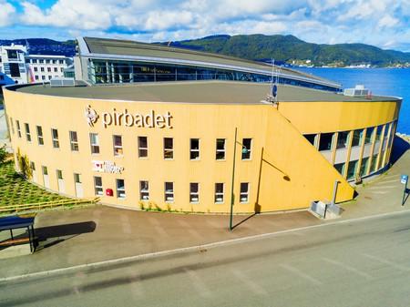 TRONDHEIM, NORWAY - AUGUST 03, 2017: Pirbadet Waterpark is a largest indoor swimming pool in Norway, located in Trondheim